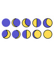 the phases of the moon the whole cycle from new vector image vector image