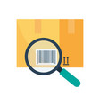 tracking parcel logistic and delivery find barcode vector image vector image