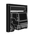 truck entrance to station single icon in black vector image vector image