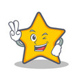 two finger star character cartoon style vector image vector image