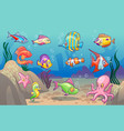 underwater scene cute sea tropical fishes ocean vector image