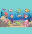underwater scene cute sea tropical fishes ocean vector image vector image