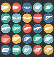 wings icons set on color circles black background vector image vector image