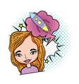 woman with speech bubble rocket pop art vector image