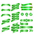 green ribbons isolated on whte background vector image
