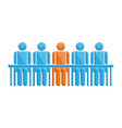 people in meeting with leader symbol vector image