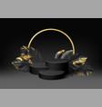 3d realistic black pedestal on a black background vector image
