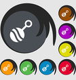 Baby rattle icon sign Symbols on eight colored vector image vector image