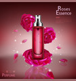 bottle roses cosmetic mockup on red background vector image vector image