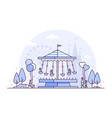 carousel - thin line design style vector image