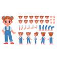 cartoon little girl character constructor vector image