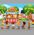 children watching puppet show outside vector image vector image