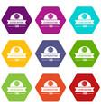 clothes button design icons set 9 vector image vector image