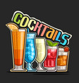 cocktails in a row vector image vector image