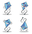 collection set blue kite character cartoon vector image vector image