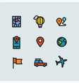 color thin line icons collection travel vector image vector image
