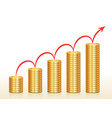 columns coins and red arrow above them growing vector image