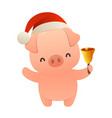 cute cartoon christmas pig holds bell isolated on vector image