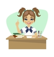cute little girl sitting at desk having idea vector image vector image