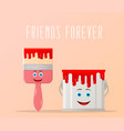 cute paintbrush and metal bucket concept vector image