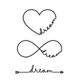 dream - word with infinity symbol hand drawn vector image vector image