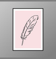 feather poster for interior decor vector image