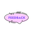feedback social media banner with pink linear vector image vector image