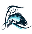 fish on wave silhouette vector image vector image
