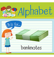 Flashcard alphabet B is for banknotes vector image vector image