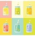 Flat colorful set of mason jar
