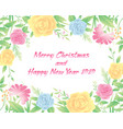 floral frame merry christmas and new year text vector image vector image