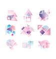 geometric logo set colorful abstract elements vector image vector image