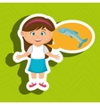girl cartoon food fish fresh vector image