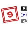 grunge 9 scratched rectangle stamp seals vector image vector image