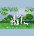 happy family walking on the field vector image