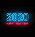 happy new year 2020 neon sign glowing text for vector image vector image