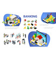 isometric banking composition vector image vector image