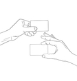 Man hands holding a blank cards outline contour vector image vector image
