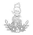 mermaid with treasure chest and flowers vector image vector image