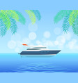 modern yacht sailing in sea or ocean on background vector image vector image