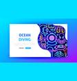 ocean diving neon landing page vector image vector image