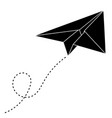 paper airplane with track black outline drawing vector image