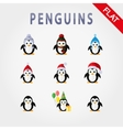 penguins in different hats vector image vector image