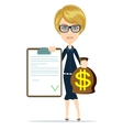 Picture of woman with dollar signed bag vector image vector image