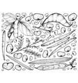 podded vegetables on a white background vector image vector image