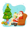 Santa Claus reading wish list for Christmas vector image vector image