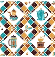 Seamless pattern Argyle and Coffeemakers vector image vector image