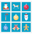Set of Colorful Christmas Square Icons vector image vector image