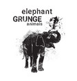 silhouette elaphant in grunge design style animal vector image vector image