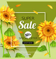 summer sale banner template with sunflower vector image vector image